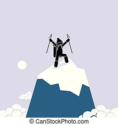 feliz, cima, hombre, mountain., con éxito, subida