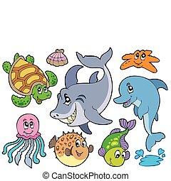 Feliz colección de animales marinos