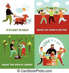 Feliz concepto de diseño de voluntarios
