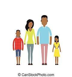 feliz, cuatro, familia , norteamericano, dos personas, africano, padres, niños