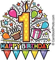 feliz cumpleaños, diseño, primero