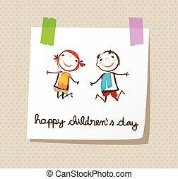 feliz, día, childrens
