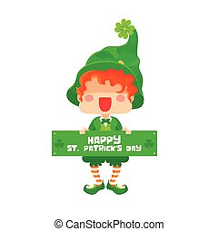 Feliz día de San Patricio, signo de saludo de duende