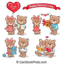 Feliz día de San Valentín de parejas de ositos de peluche