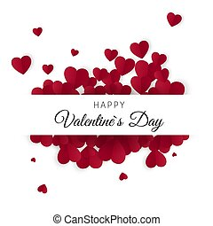 Feliz día de San Valentín y elementos de diseño de bodas. Trasfondo blanco con adorno de corazones. Ilustración de vectores