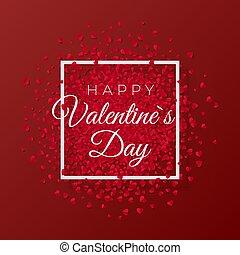 Feliz día de San Valentín y eliminar elementos románticos. Trasfondo rojo con adorno de corazones. Ilustración de vectores
