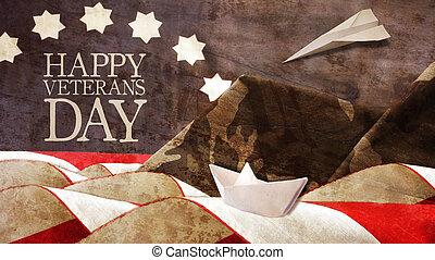 Feliz día de veteranos. Bandera