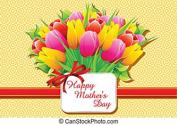 feliz, día, tarjeta, madre