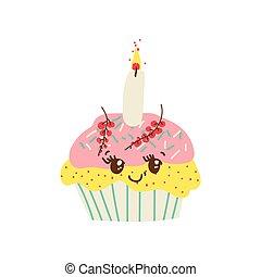Feliz delicioso personaje de dibujos animados de cupcakes, adorable postre kawaii con ilustración vectorial de velas