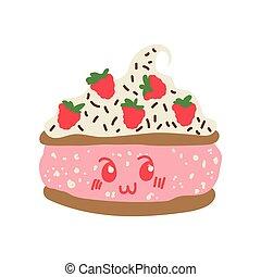 Feliz dibujo animado de pastel delicioso, adorable kawaii postre con ilustración vector de fresas