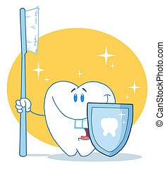 Feliz diente sonriente con cepillo de dientes