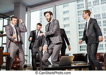 feliz, equipo, bailando, empresa / negocio