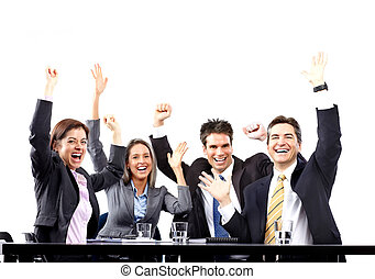 Feliz equipo de gente de negocios