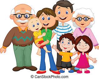 Feliz familia de dibujos animados