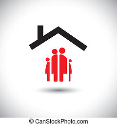Feliz familia  ⁇  home icono vector concepto