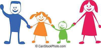 Feliz familia. Ilustración cartulina