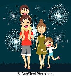 Feliz fuegos artificiales familiares