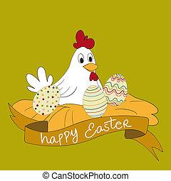 Feliz gallina del este con huevos