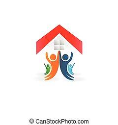 feliz, gente, casa, logotipo, unidad, familia