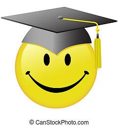 Feliz graduación con el botón de la gorra graduada