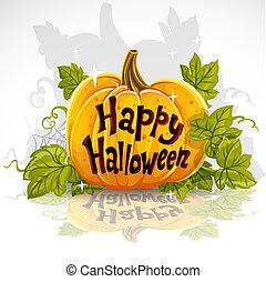 Feliz Halloween cortó calabaza