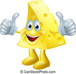 Feliz hombre de queso de caricatura
