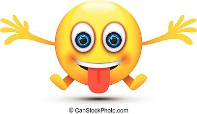 feliz, hombre fuera de lengua, emoji