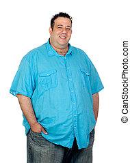 feliz, hombre gordo