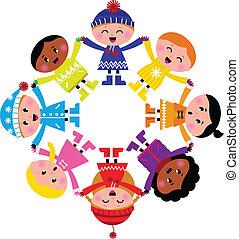 Feliz invierno, niños en círculo aislados en blanco