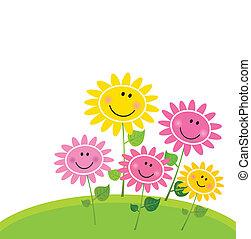 Feliz jardín de flores de primavera