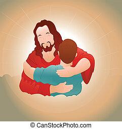 Feliz Jesús con el joven