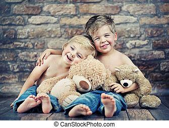 feliz, juego, hermanos, dos, juguetes