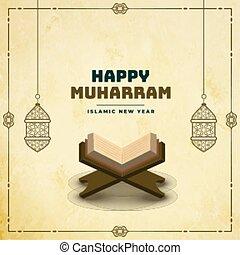 feliz, libro, muharram, santo, quraan, plano de fondo