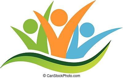 Feliz logotipo de la gente de negocios