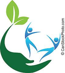 Feliz logotipo de la gente sana