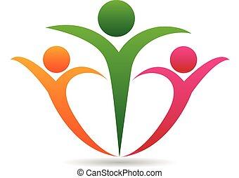 Feliz logotipo de la unión familiar