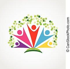 Feliz logotipo de trabajo en equipo