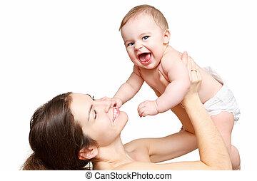 Feliz madre con bebé