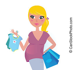 Feliz madre embarazada de compras para el bebé