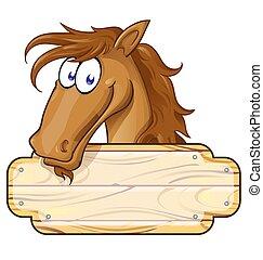 Feliz mascota de caballos de dibujos animados con una señal en blanco