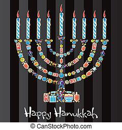 feliz, menorah, galleta, hanukkah