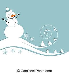 Feliz muñeco de nieve, tarjeta de Navidad