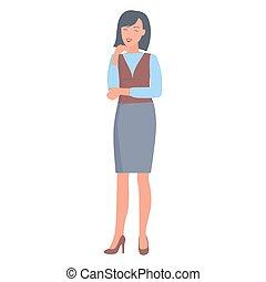 Feliz mujer de negocios con ilustraciones de ropa formal