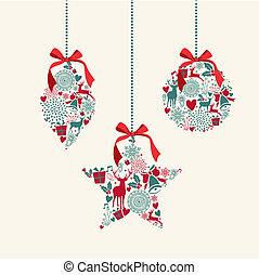 Feliz Navidad colgando los elementos de composición.