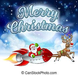 Feliz Navidad Santa Claus trineo cohete
