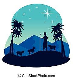 feliz navidad, vector, diseño, pastor, natividad, sheeps