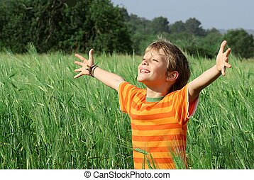 feliz, niño, verano, sano