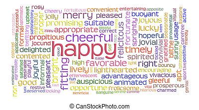 Feliz nube de palabras alegres