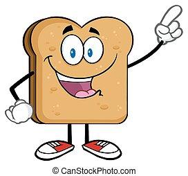 Feliz pan tostado señalando