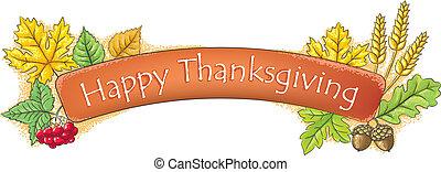 Feliz pancarta de Acción de Gracias